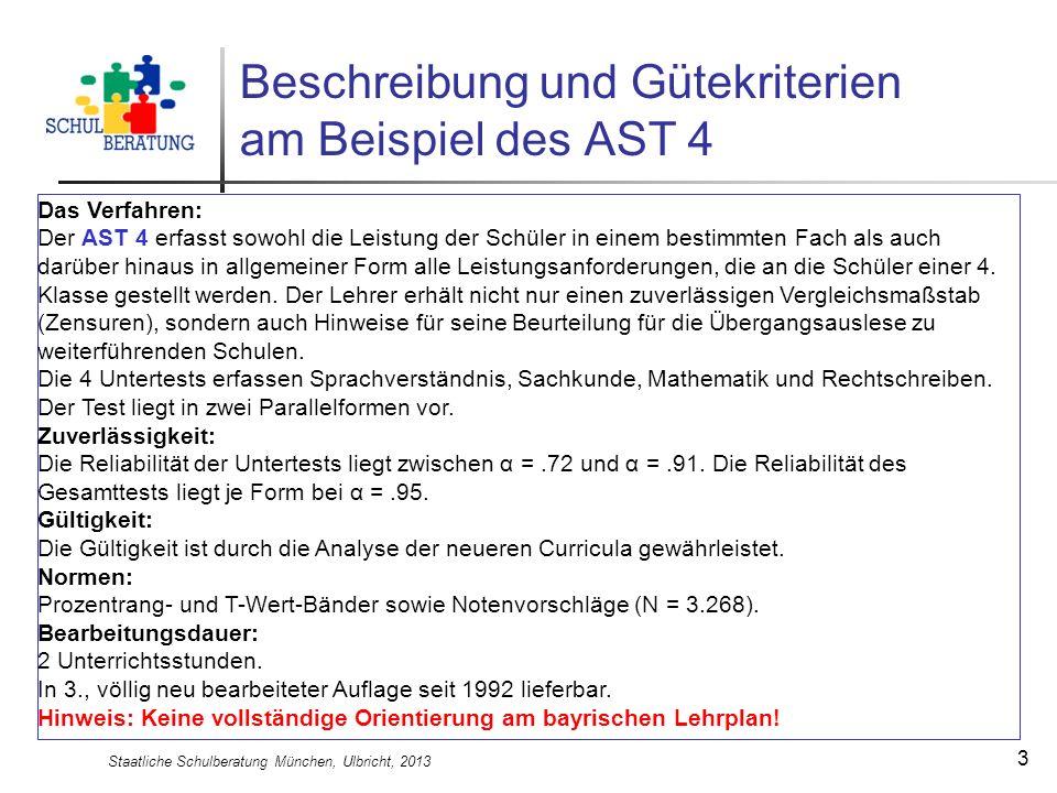 Staatliche Schulberatung München, Ulbricht, 2013 3 Beschreibung und Gütekriterien am Beispiel des AST 4 Das Verfahren: Der AST 4 erfasst sowohl die Le