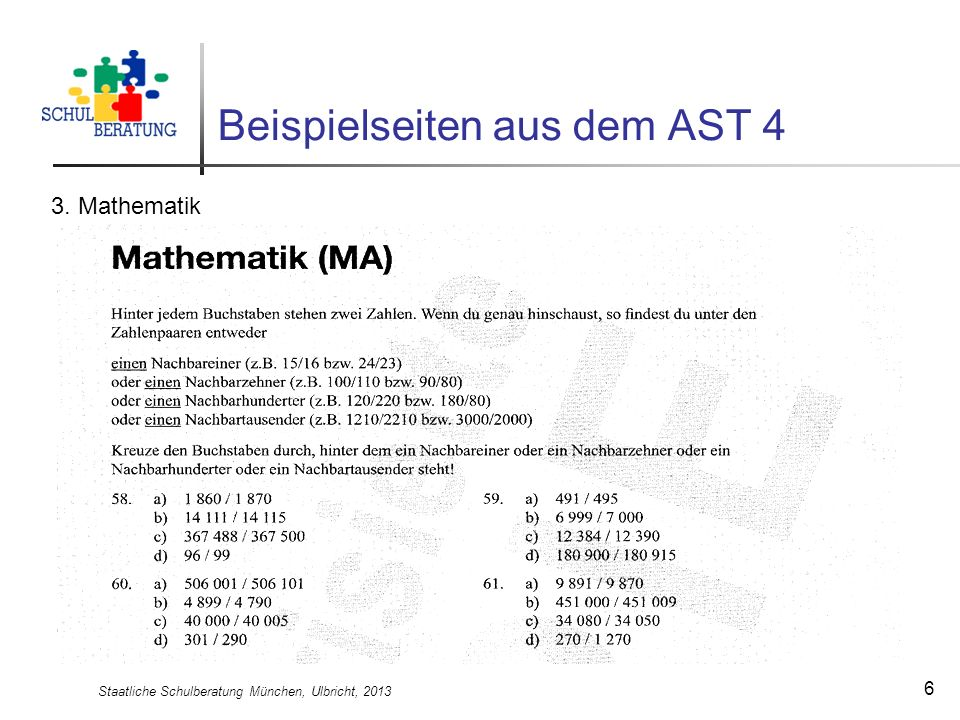 Staatliche Schulberatung München, Ulbricht, 2013 7 Beispielseiten aus dem AST 4 4. Rechtschreibung