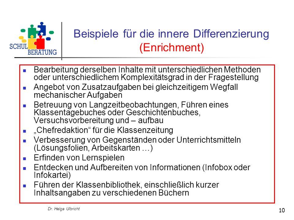 Dr. Helga Ulbricht 10 Beispiele für die innere Differenzierung (Enrichment) Bearbeitung derselben Inhalte mit unterschiedlichen Methoden oder untersch