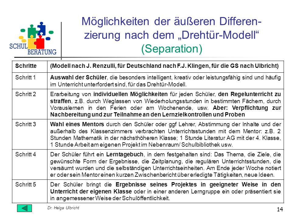 Dr. Helga Ulbricht 14 Möglichkeiten der äußeren Differen- zierung nach dem Drehtür-Modell (Separation) Schritte(Modell nach J. Renzulli, für Deutschla