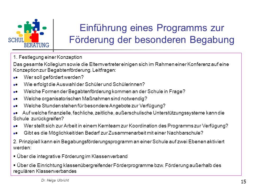 Dr. Helga Ulbricht 15 Einführung eines Programms zur Förderung der besonderen Begabung 1. Festlegung einer Konzeption Das gesamte Kollegium sowie die