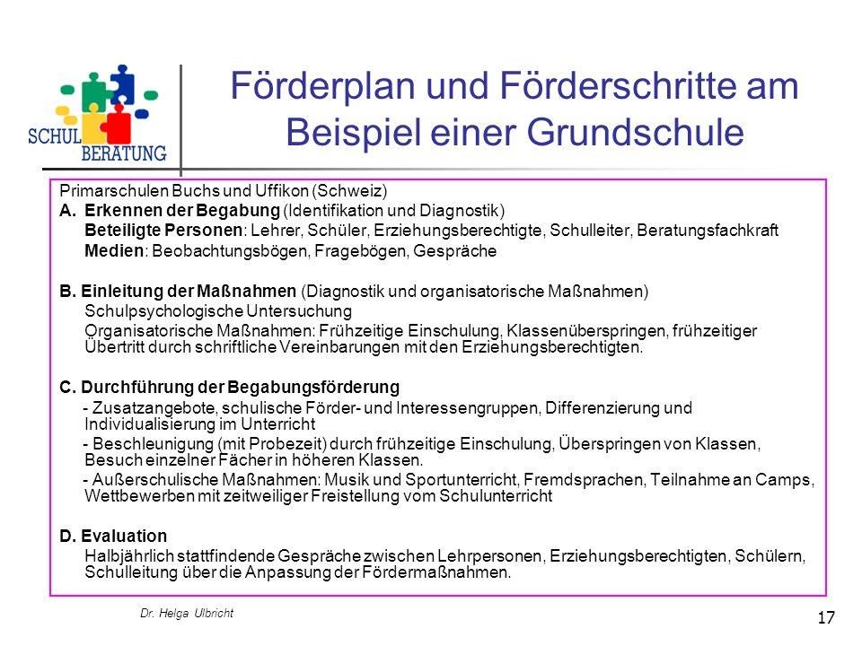 Dr. Helga Ulbricht 17 Förderplan und Förderschritte am Beispiel einer Grundschule Primarschulen Buchs und Uffikon (Schweiz) A.Erkennen der Begabung (I