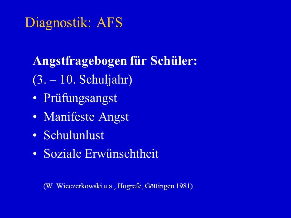 Diagnostik: AFS Angstfragebogen für Schüler: (3. – 10. Schuljahr) Prüfungsangst Manifeste Angst Schulunlust Soziale Erwünschtheit (W. Wieczerkowski u.