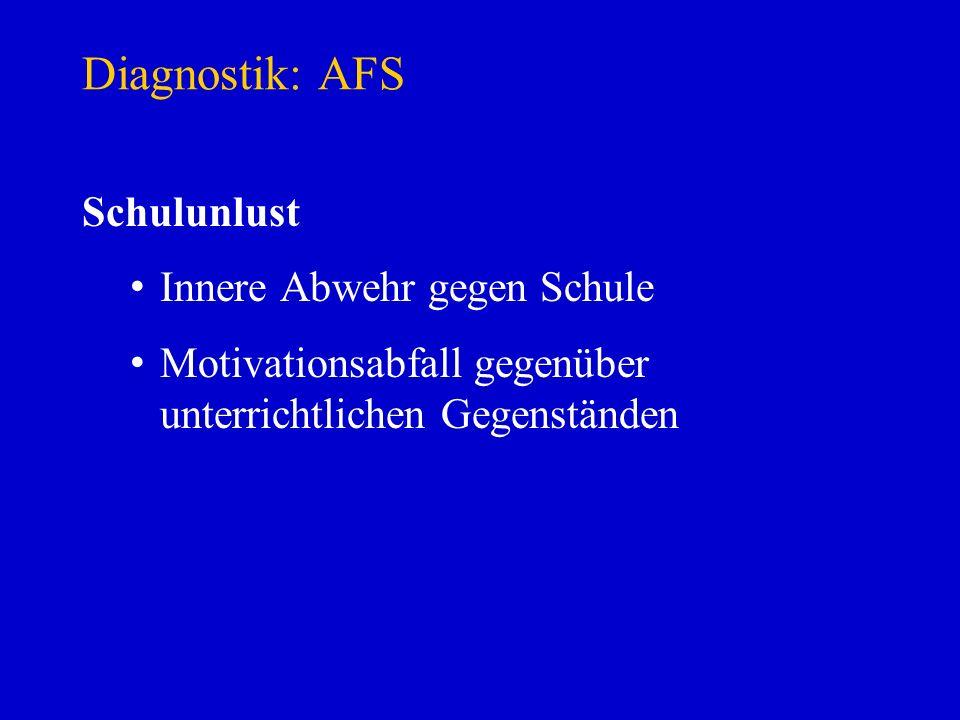Diagnostik: AFS Schulunlust Innere Abwehr gegen Schule Motivationsabfall gegenüber unterrichtlichen Gegenständen