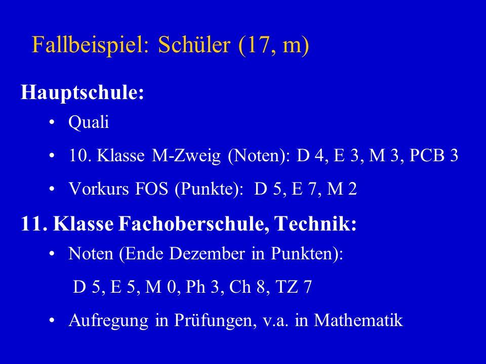 Fallbeispiel: Schüler (17, m) Hauptschule: Quali 10. Klasse M-Zweig (Noten): D 4, E 3, M 3, PCB 3 Vorkurs FOS (Punkte): D 5, E 7, M 2 11. Klasse Facho