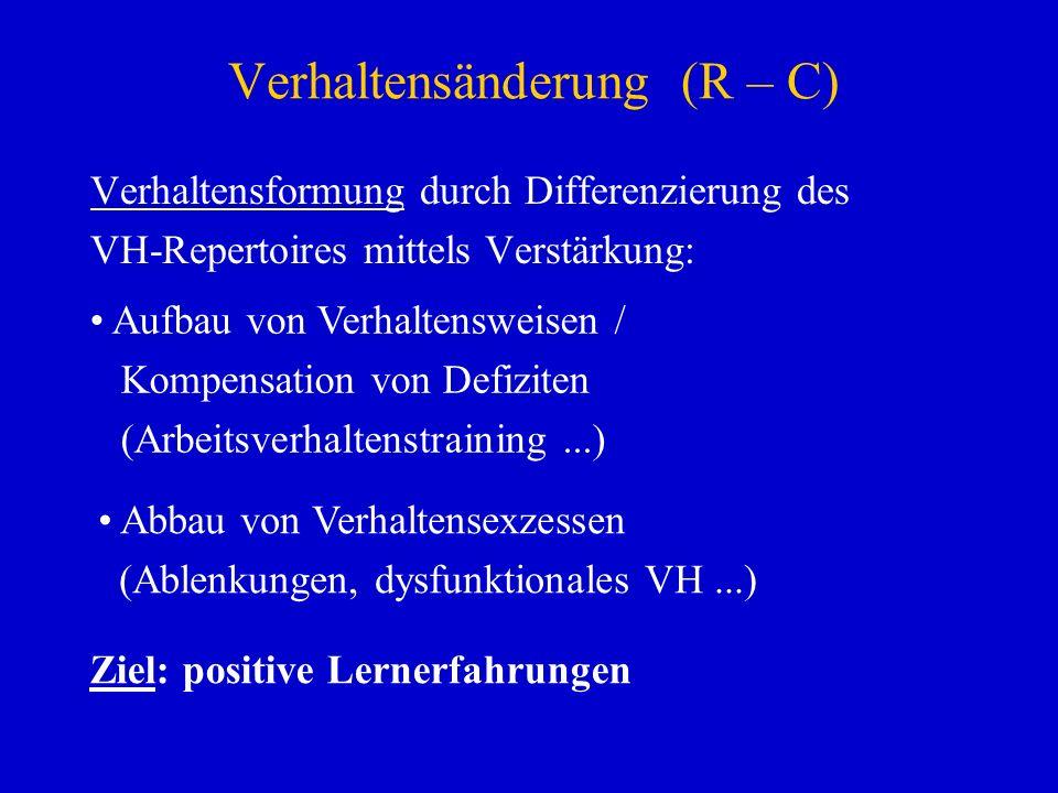 Verhaltensänderung (R – C) Verhaltensformung durch Differenzierung des VH-Repertoires mittels Verstärkung: Aufbau von Verhaltensweisen / Kompensation