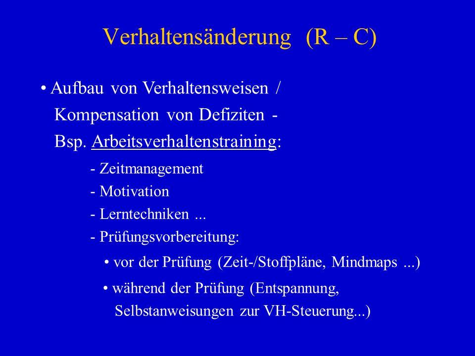 Verhaltensänderung (R – C) Aufbau von Verhaltensweisen / Kompensation von Defiziten - Bsp. Arbeitsverhaltenstraining: - Zeitmanagement - Motivation -