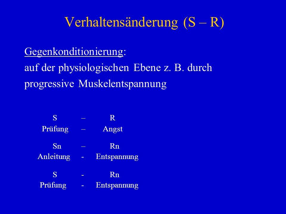 Verhaltensänderung (S – R) Gegenkonditionierung: auf der physiologischen Ebene z. B. durch progressive Muskelentspannung S–R Prüfung – Angst Sn–Rn Anl