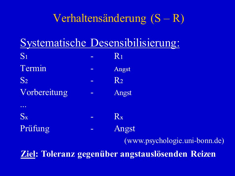 Verhaltensänderung (S – R) Systematische Desensibilisierung: S 1 -R 1 Termin- Angst S 2 -R 2 Vorbereitung- Angst... S x -R x Prüfung-Angst Ziel: Toler