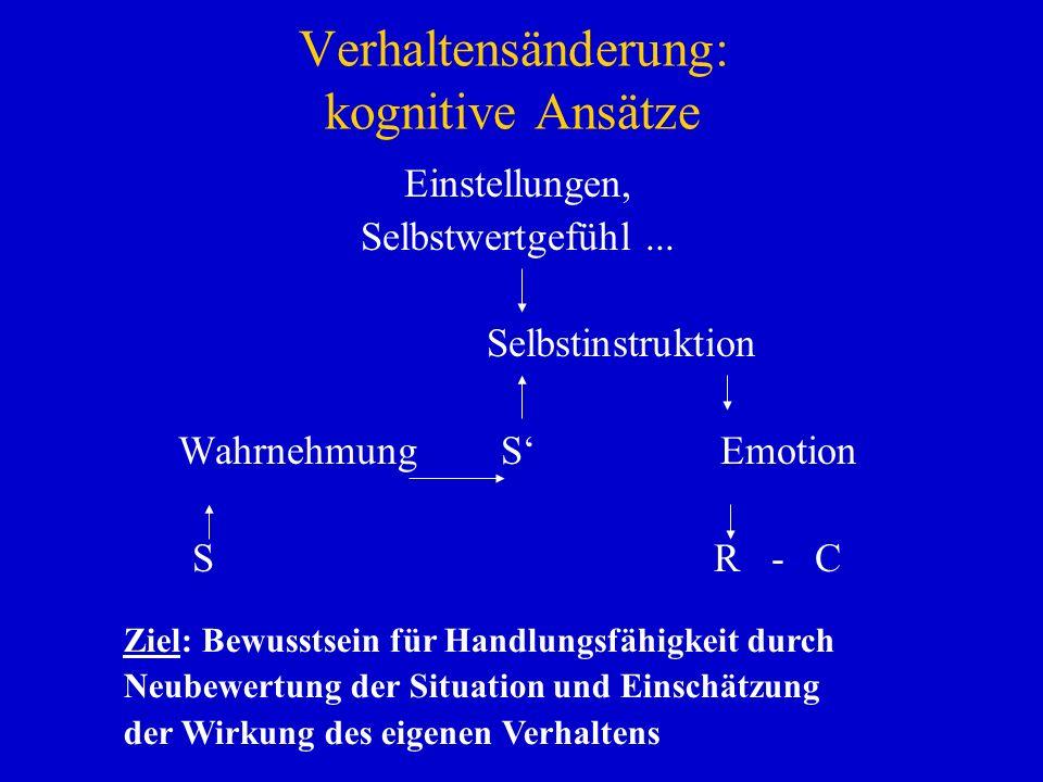 Verhaltensänderung: kognitive Ansätze Einstellungen, Selbstwertgefühl... Selbstinstruktion Wahrnehmung S Emotion SR - C Ziel: Bewusstsein für Handlung