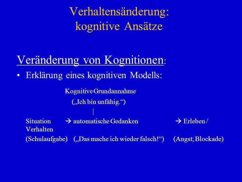 Verhaltensänderung: kognitive Ansätze Veränderung von Kognitionen : Erklärung eines kognitiven Modells: Kognitive Grundannahme (Ich bin unfähig.) | Si