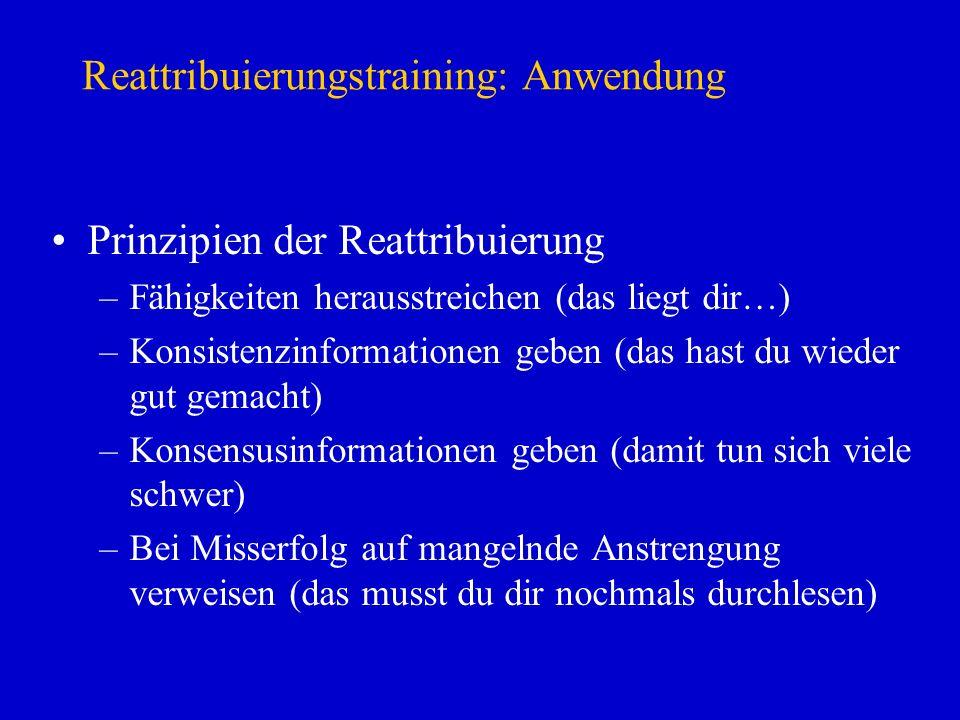Reattribuierungstraining: Anwendung Prinzipien der Reattribuierung –Fähigkeiten herausstreichen (das liegt dir…) –Konsistenzinformationen geben (das h