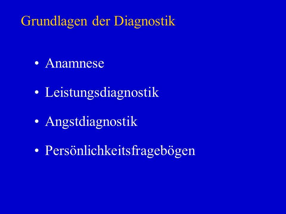 Grundlagen der Diagnostik Anamnese Leistungsdiagnostik Angstdiagnostik Persönlichkeitsfragebögen