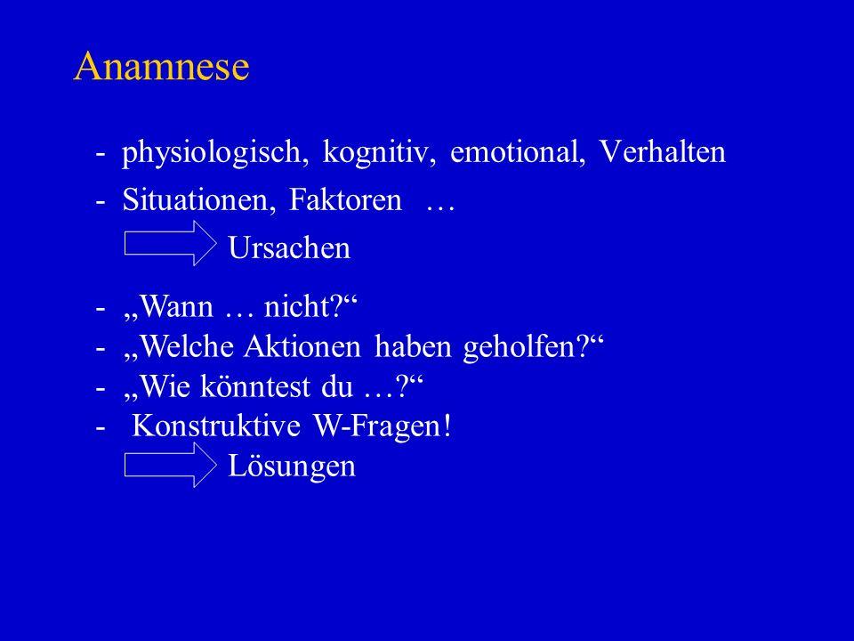 Anamnese -physiologisch, kognitiv, emotional, Verhalten -Situationen, Faktoren … Ursachen - Wann … nicht? - Welche Aktionen haben geholfen? - Wie könn