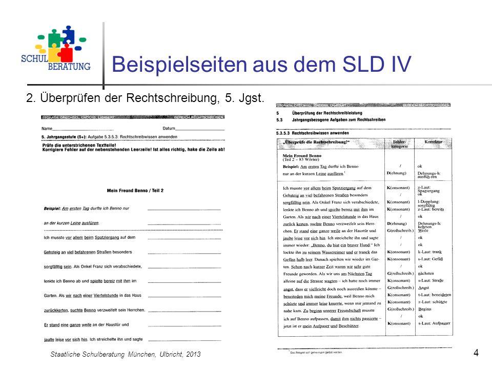 Staatliche Schulberatung München, Ulbricht, 2013 4 Beispielseiten aus dem SLD IV 2. Überprüfen der Rechtschreibung, 5. Jgst.