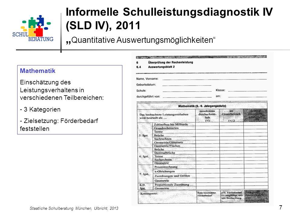 Staatliche Schulberatung München, Ulbricht, 2013 8 Informelle Schulleistungsdiagnostik IV (SLD IV), 2011 Quantitative Auswertungsmöglichkeiten Rechtschreiben Einschätzung des Leistungsverhaltens in verschiedenen Teilbereichen: - 3 Kategorien - Zielsetzung: Förderbedarf feststellen