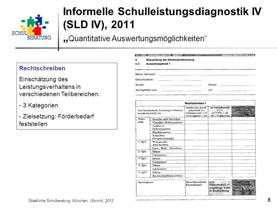 Staatliche Schulberatung München, Ulbricht, 2013 8 Informelle Schulleistungsdiagnostik IV (SLD IV), 2011 Quantitative Auswertungsmöglichkeiten Rechtsc