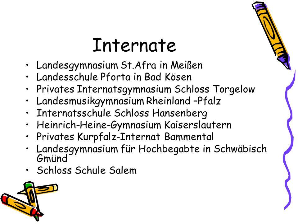 Internate Landesgymnasium St.Afra in Meißen Landesschule Pforta in Bad Kösen Privates Internatsgymnasium Schloss Torgelow Landesmusikgymnasium Rheinla