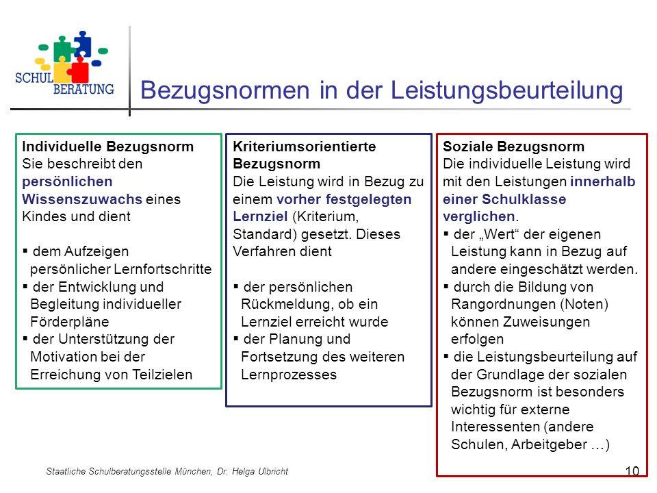 Bezugsnormen in der Leistungsbeurteilung Staatliche Schulberatungsstelle München, Dr. Helga Ulbricht 10 Individuelle Bezugsnorm Sie beschreibt den per
