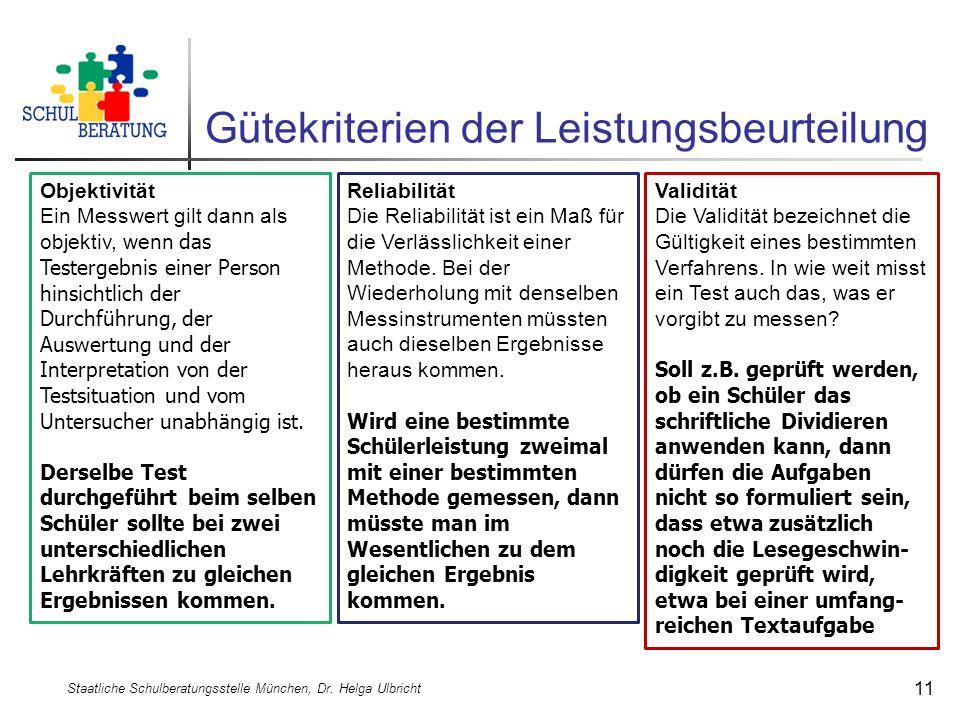 Gütekriterien der Leistungsbeurteilung Staatliche Schulberatungsstelle München, Dr. Helga Ulbricht 11 Reliabilität Die Reliabilität ist ein Maß für di