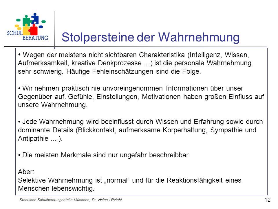 Stolpersteine der Wahrnehmung Staatliche Schulberatungsstelle München, Dr. Helga Ulbricht 12 Wegen der meistens nicht sichtbaren Charakteristika (Inte