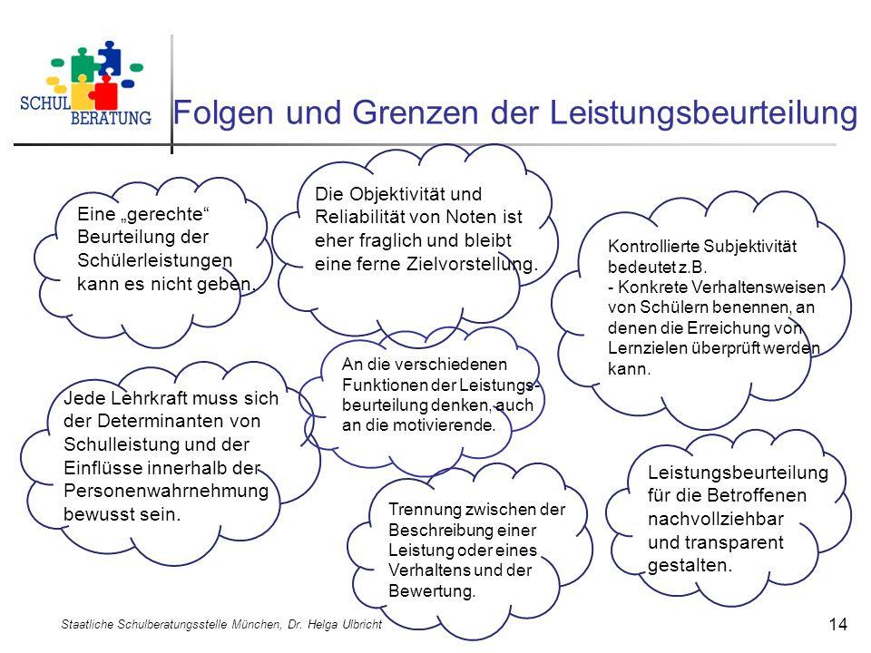 Folgen und Grenzen der Leistungsbeurteilung Staatliche Schulberatungsstelle München, Dr. Helga Ulbricht 14 Eine gerechte Beurteilung der Schülerleistu