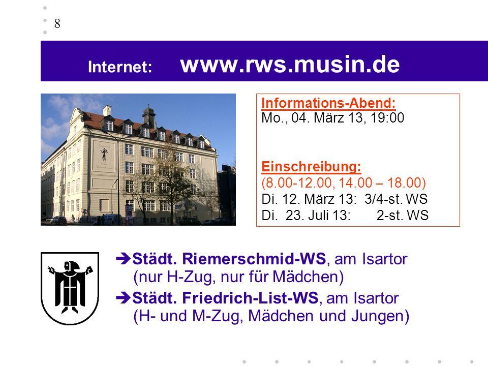 Internet: www.rws.musin.de 8 Städt. Riemerschmid-WS, am Isartor (nur H-Zug, nur für Mädchen) Städt. Friedrich-List-WS, am Isartor (H- und M-Zug, Mädch