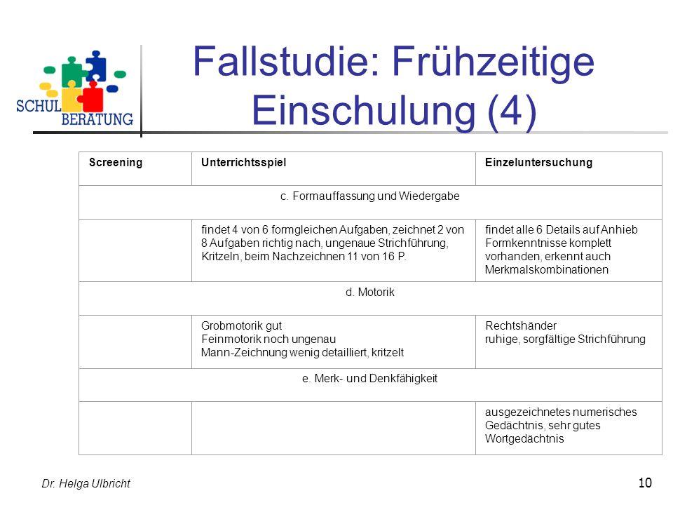 Dr. Helga Ulbricht 10 Fallstudie: Frühzeitige Einschulung (4) ScreeningUnterrichtsspielEinzeluntersuchung c. Formauffassung und Wiedergabe findet 4 vo