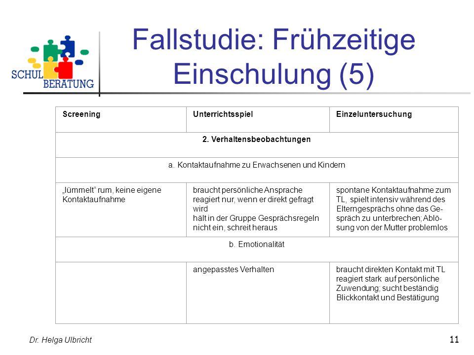 Dr. Helga Ulbricht 11 Fallstudie: Frühzeitige Einschulung (5) ScreeningUnterrichtsspielEinzeluntersuchung 2. Verhaltensbeobachtungen a. Kontaktaufnahm