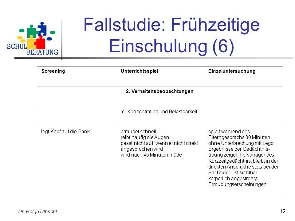 Dr. Helga Ulbricht 12 Fallstudie: Frühzeitige Einschulung (6) ScreeningUnterrichtsspielEinzeluntersuchung 2. Verhaltensbeobachtungen c. Konzentration