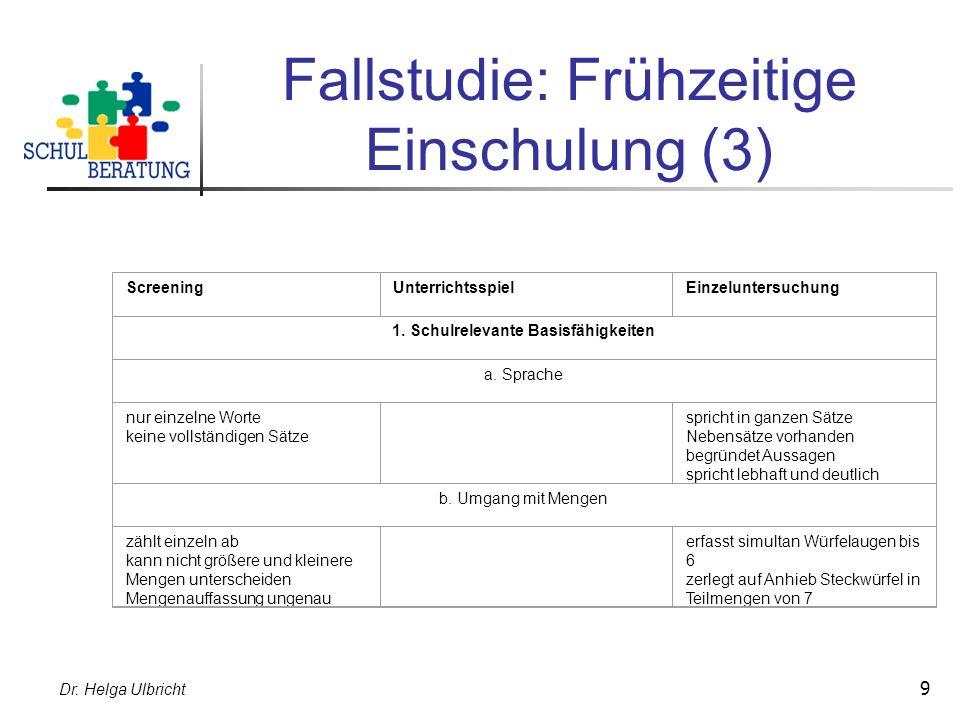 Dr. Helga Ulbricht 9 Fallstudie: Frühzeitige Einschulung (3) ScreeningUnterrichtsspielEinzeluntersuchung 1. Schulrelevante Basisfähigkeiten a. Sprache
