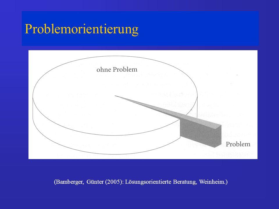 Problemorientierung (Bamberger, Günter (2005): Lösungsorientierte Beratung, Weinheim.)