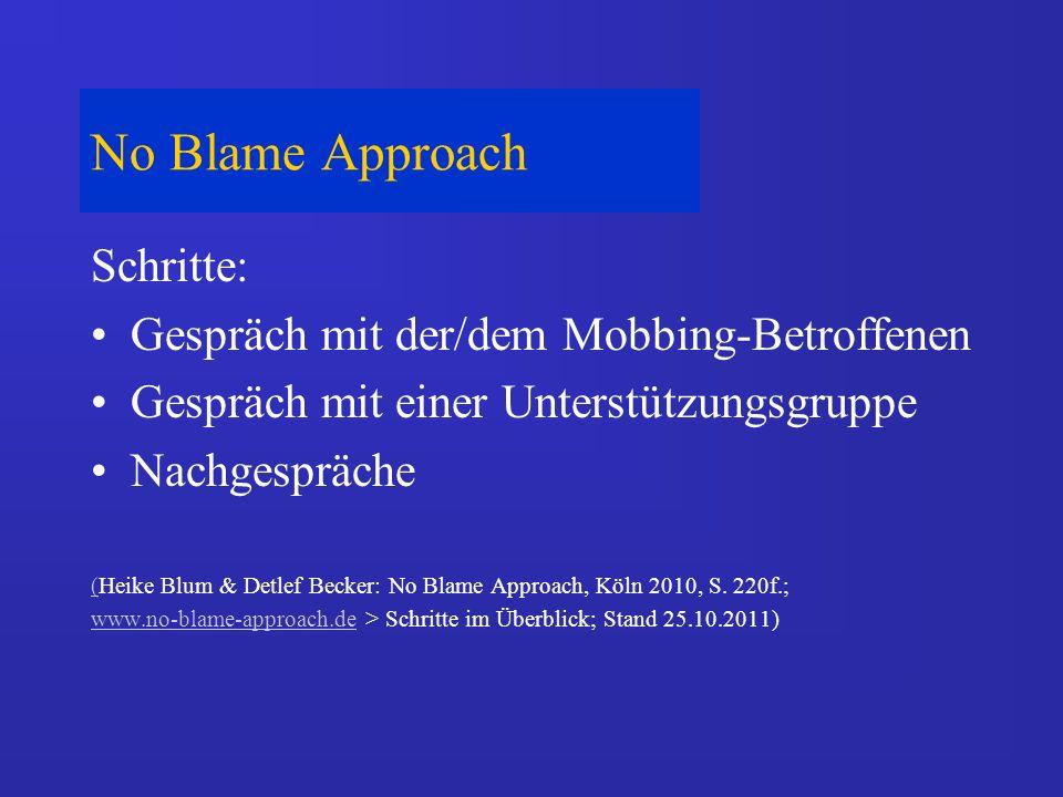 No Blame Approach Schritte: Gespräch mit der/dem Mobbing-Betroffenen Gespräch mit einer Unterstützungsgruppe Nachgespräche ((Heike Blum & Detlef Becker: No Blame Approach, Köln 2010, S.