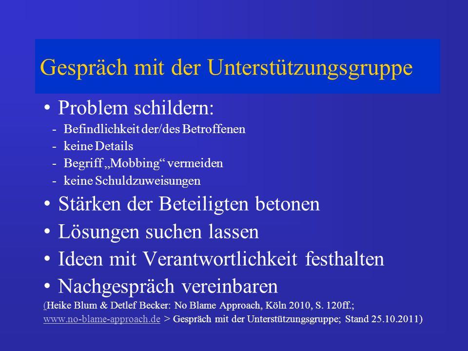 Gespräch mit der Unterstützungsgruppe Problem schildern: -Befindlichkeit der/des Betroffenen -keine Details -Begriff Mobbing vermeiden -keine Schuldzuweisungen Stärken der Beteiligten betonen Lösungen suchen lassen Ideen mit Verantwortlichkeit festhalten Nachgespräch vereinbaren ((Heike Blum & Detlef Becker: No Blame Approach, Köln 2010, S.