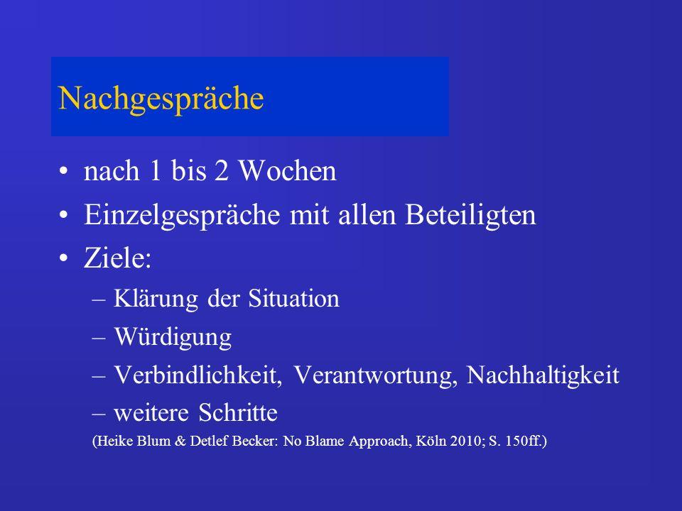 Nachgespräche nach 1 bis 2 Wochen Einzelgespräche mit allen Beteiligten Ziele: –Klärung der Situation –Würdigung –Verbindlichkeit, Verantwortung, Nachhaltigkeit –weitere Schritte (Heike Blum & Detlef Becker: No Blame Approach, Köln 2010; S.