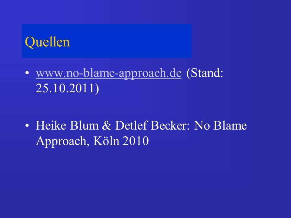 Quellen www.no-blame-approach.de (Stand: 25.10.2011)www.no-blame-approach.de Heike Blum & Detlef Becker: No Blame Approach, Köln 2010