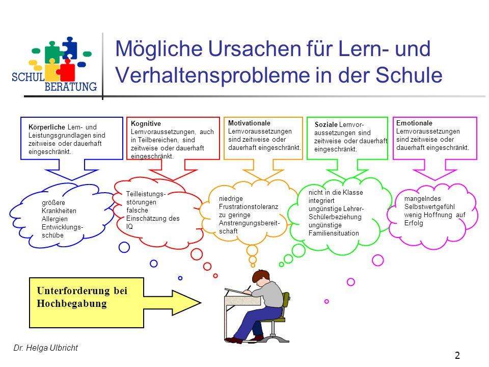 Dr. Helga Ulbricht 2 Körperliche Lern- und Leistungsgrundlagen sind zeitweise oder dauerhaft eingeschränkt. Kognitive Lernvoraussetzungen, auch in Tei