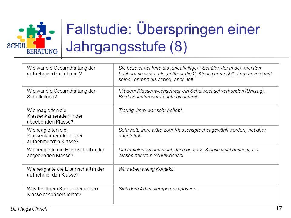 Dr. Helga Ulbricht 17 Fallstudie: Überspringen einer Jahrgangsstufe (8) Wie war die Gesamthaltung der aufnehmenden Lehrerin? Sie bezeichnet Imre als u