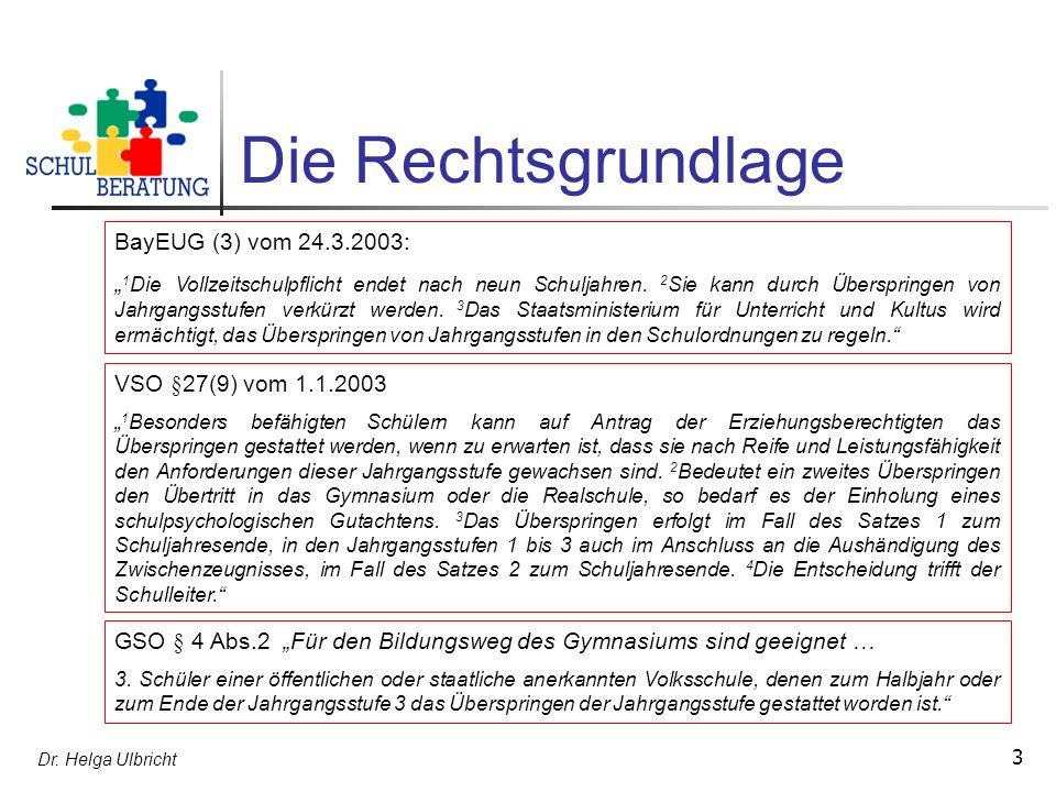 Dr. Helga Ulbricht 3 Die Rechtsgrundlage BayEUG (3) vom 24.3.2003: 1 Die Vollzeitschulpflicht endet nach neun Schuljahren. 2 Sie kann durch Überspring