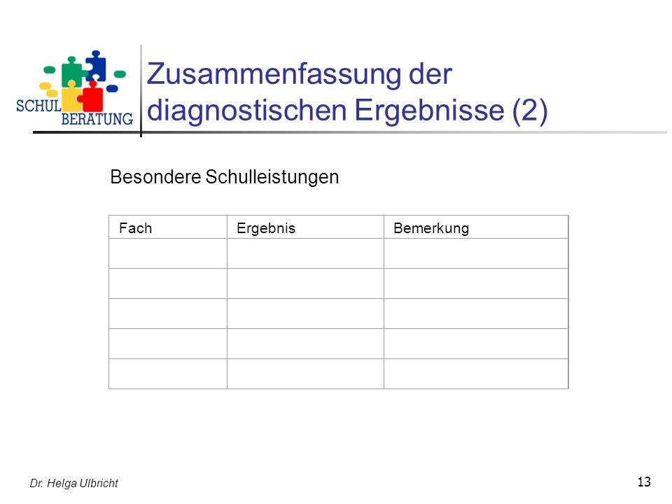 Dr. Helga Ulbricht 13 Zusammenfassung der diagnostischen Ergebnisse (2) FachErgebnisBemerkung Besondere Schulleistungen