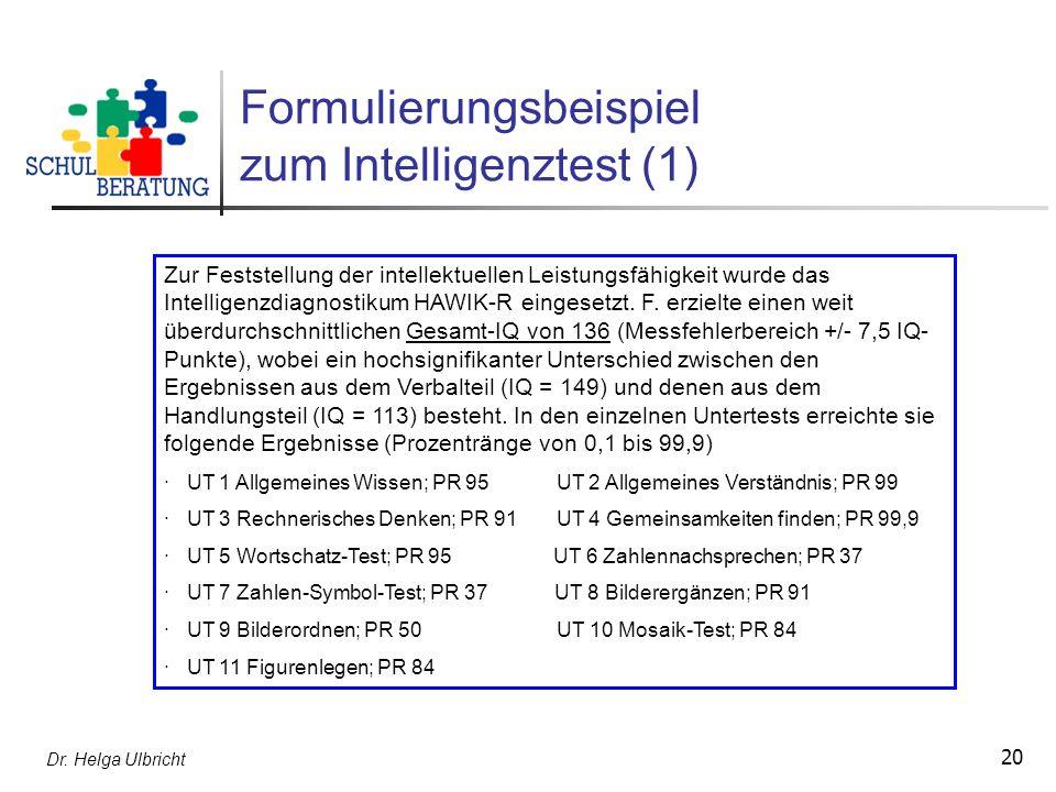Dr. Helga Ulbricht 20 Formulierungsbeispiel zum Intelligenztest (1) Zur Feststellung der intellektuellen Leistungsfähigkeit wurde das Intelligenzdiagn