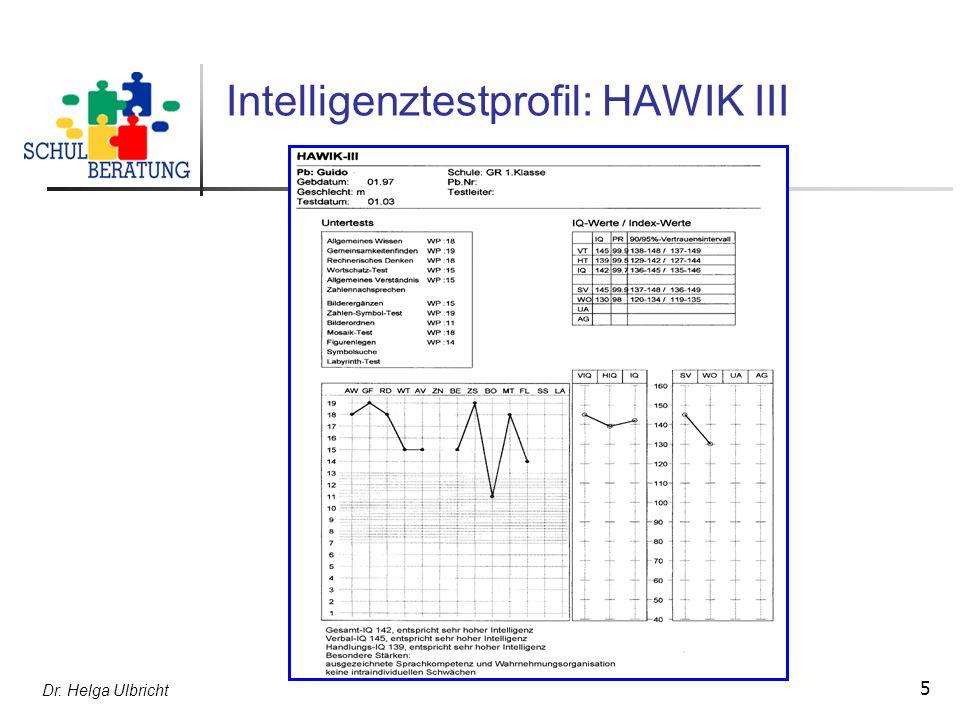 Dr. Helga Ulbricht 5 Intelligenztestprofil: HAWIK III