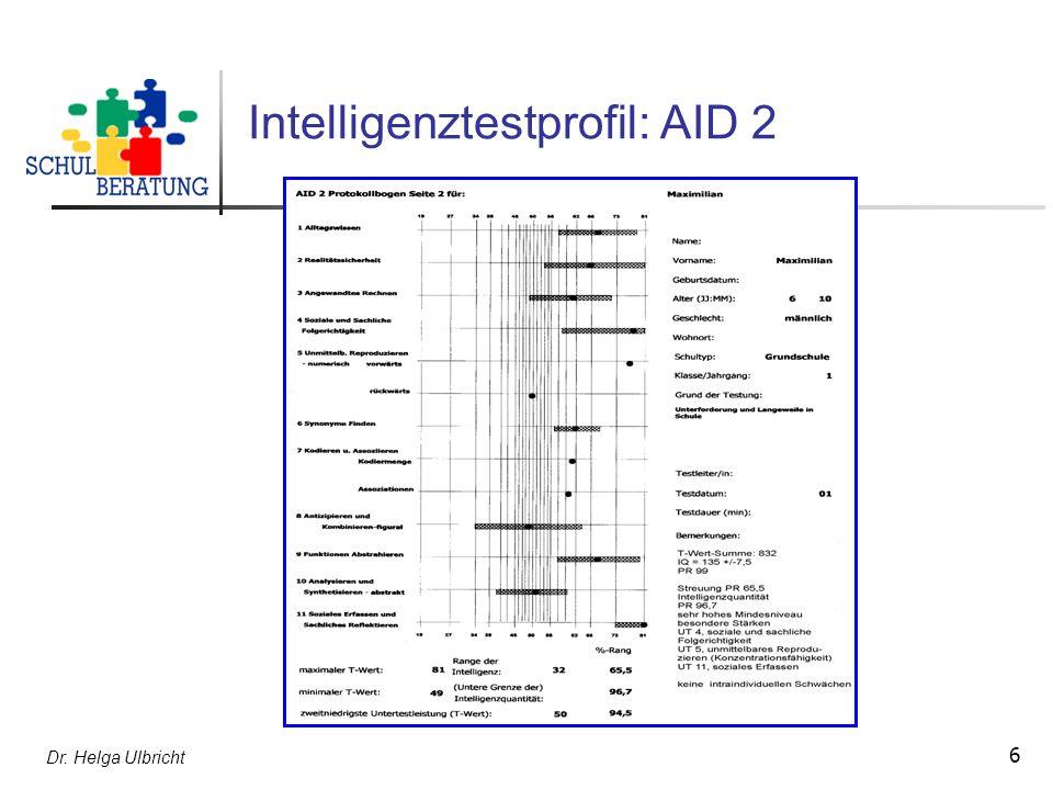 Dr.Helga Ulbricht 27 Formulierungsbeispiel 2 zur Empfehlung U.