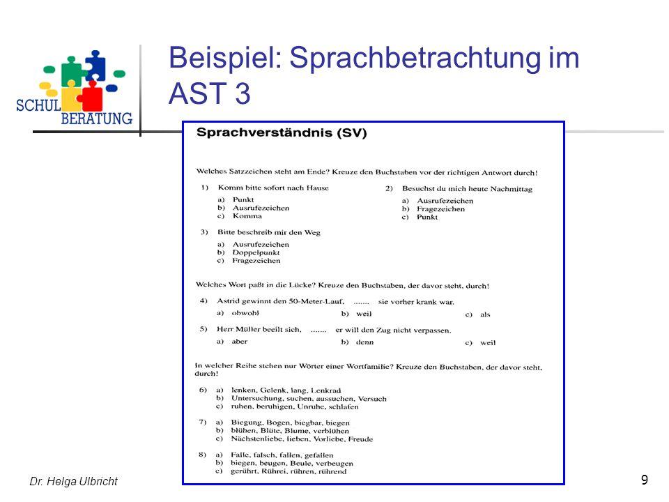 Dr. Helga Ulbricht 10 Beispiel: Textaufgaben im AST 2