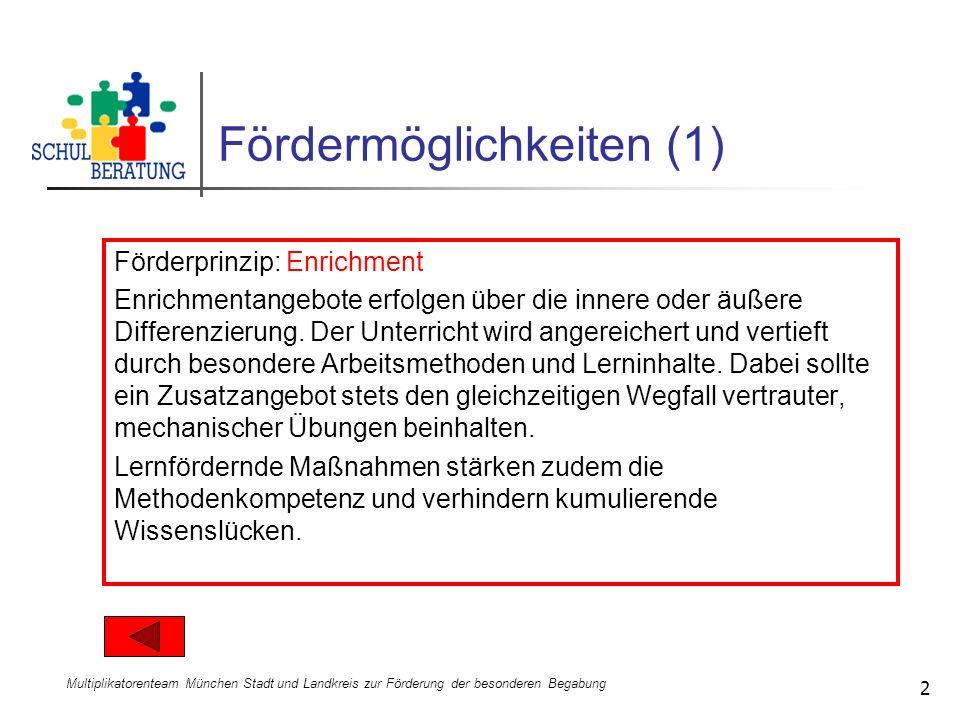 Multiplikatorenteam München Stadt und Landkreis zur Förderung der besonderen Begabung 2 Fördermöglichkeiten (1) Förderprinzip: Enrichment Enrichmentan