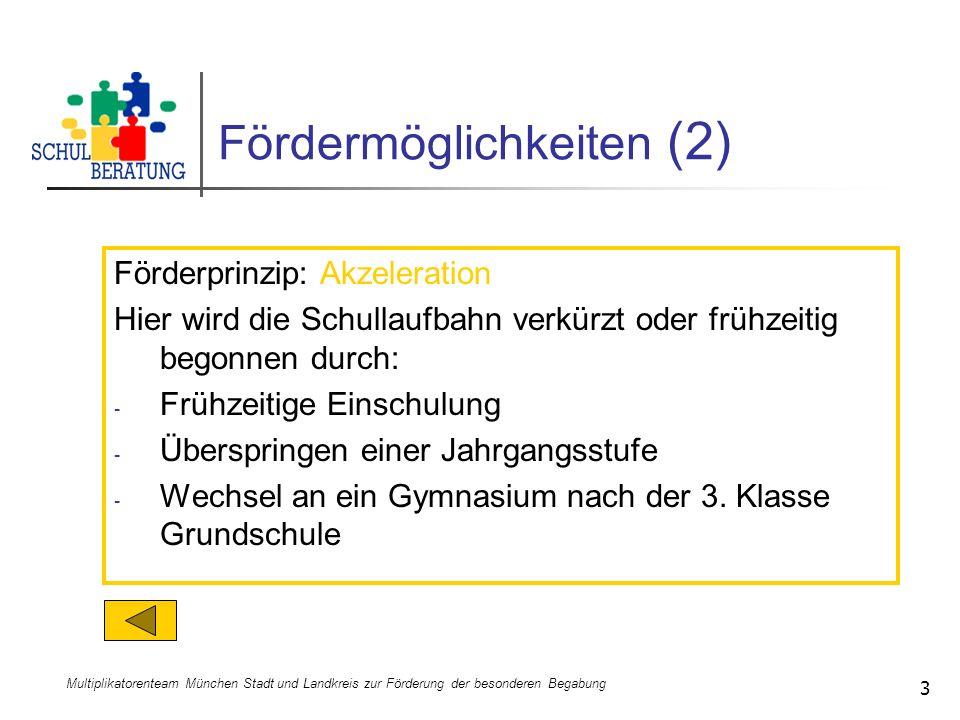Multiplikatorenteam München Stadt und Landkreis zur Förderung der besonderen Begabung 3 Fördermöglichkeiten (2) Förderprinzip: Akzeleration Hier wird