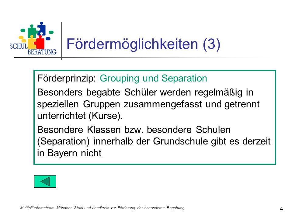 Multiplikatorenteam München Stadt und Landkreis zur Förderung der besonderen Begabung 4 Fördermöglichkeiten (3) Förderprinzip: Grouping und Separation
