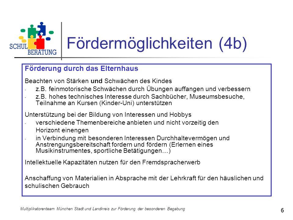 Multiplikatorenteam München Stadt und Landkreis zur Förderung der besonderen Begabung 6 Fördermöglichkeiten (4b) Förderung durch das Elternhaus Beacht