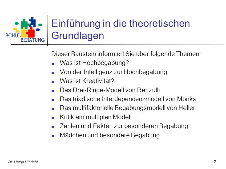 2 Einführung in die theoretischen Grundlagen Dieser Baustein informiert Sie über folgende Themen: Was ist Hochbegabung.