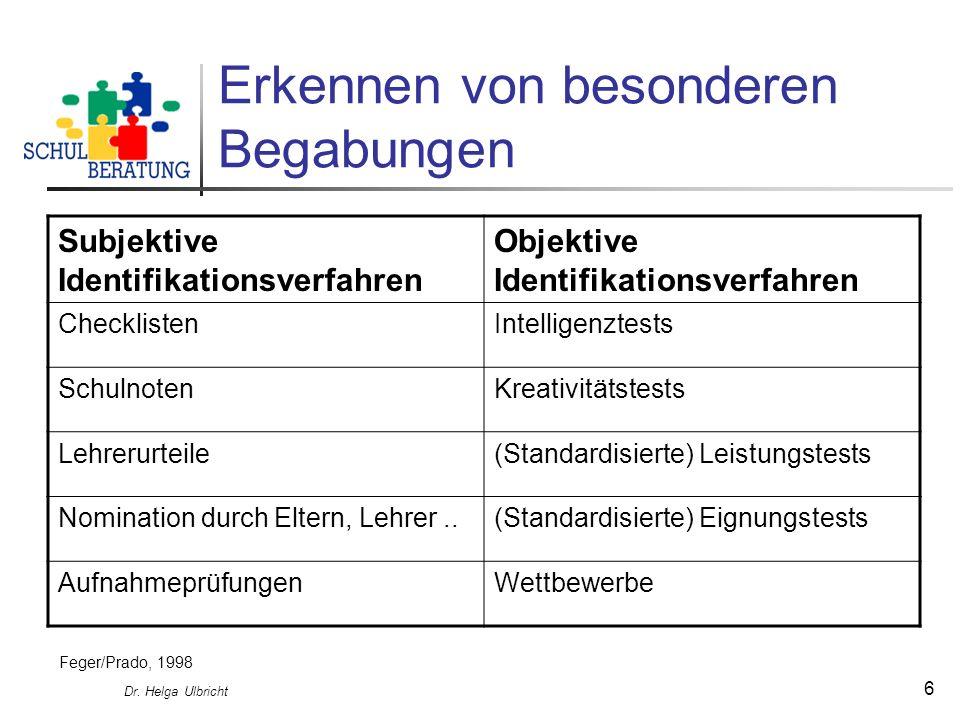 Dr. Helga Ulbricht 6 Erkennen von besonderen Begabungen Subjektive Identifikationsverfahren Objektive Identifikationsverfahren ChecklistenIntelligenzt